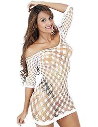 VJGOAL Perspectiva Sexy de la tentación de Las Mujeres Malla Calada Conjunta Lencería Mallas Mini Vestido de tamaño Libre Bodysuit Ropa Interior erótica