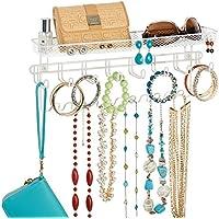 Support mural mDesign, pour colliers, boucles d'oreilles, bracelets, montres et autres accessoires - Blanc