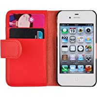 iPhone 4 Hülle, JAMMYLIZARD Ledertasche Flip Cover für iPhone 4 und 4s, ROT