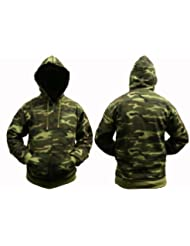 Sweat à capuche Pour Adultes Combat Camouflage Fermeture éclair - 8 Camouflages Choix de Couleurs - Camouflage Bois, Homme, 3XL