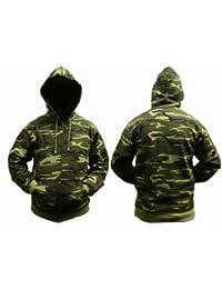 Sweat à capuche Pour Adultes Combat Camouflage Fermeture éclair - 8 Camouflages Choix de Couleurs - Camouflage Bois, 3XL