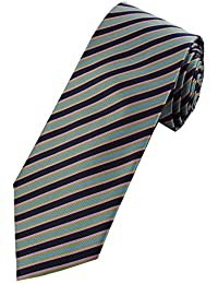 Collar and Cuffs London - High Quality Handmade Tie - Luxury Fashion Royal Blue With Sky Blue, Pink and Green Narrow Stripe Pattern