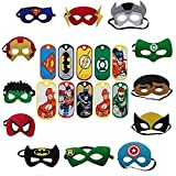 Colorful Superhero Masks Eye Masks (Material Cloth Felt) + 12 Pcs Thank You Tags Half Masks With Elastic For Kids Party Masquerade Birthday Party Decoration | Kindergarden | Fancy Dress Shop | Baby Show Event | Superhero Eye Mask | B'day Party Favours | R