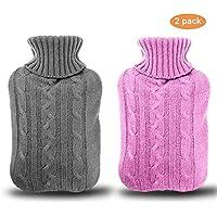 Gifort Lot de 2 Bouillotte avec une couverture épaisse et luxueuse | 2 litres de capacité |Housse de bouillotte amovible et lavable | Exempt de polluants (rose et gris)