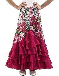 ANUKA Falda de NIÑA para Baile Flamenco o sevillanas con Mucho Vuelo, 5 Volantes en