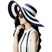La Haute Mujer Fashion Sun Hat Rayas Sombrero de Paja Grande Ala Ancha Floppy playa Gorra, niña mujer, negro