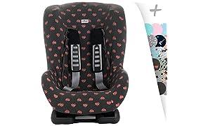 JANABEBE Janabebé Universal Car Seat Cover Liner for Child's Group 1, 2 y 3 Flúor Heart