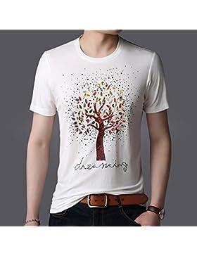 Mei&s Camiseta Estampada con Cuello Redondo de Manga Corta para Hombres