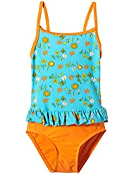 eleMar–Bañador para niña Turquesa Hawaii-Orange/Orange Talla:5 años (110 cm)
