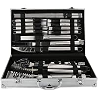 U-MISS BBQ Grill Tools Set with 26 Barbecue Accessories - Stainless Steel Utensils with Aluminium Case - Complete Outdoor Grilling Kit (26)