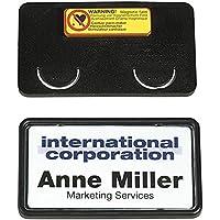 Durable 812901 - Placa para nombre (con imán y clip, 40 x 75 mm, 25 unidades), color negro