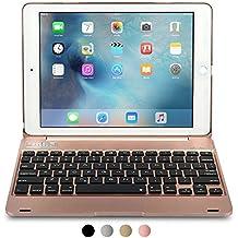 Funda Cooper Cases (TM) Kai Skel Q0 con bisagra y teclado para Apple iPad Air 2 / Pro 9.7 en Oro Rosa (Diseño tipo MacBook, teclado QWERTY inglés americano incorporado, conexión Bluetooth, batería externa, reposo/ activación automático)
