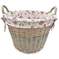 Lavaggio antico-Cesto per biancheria, da giardino, con fodera rosa