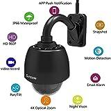 Sumpple Überwachungskamera mit 32G SD Card (HD 960P)/ Wifi WLAN Wireless PTZ 4X Optischer Zoom/ Outdoor, IP66 Wasserdicht, Bewegungserkennung, Nachtsicht, Videoaufzeichnung, Snapshot, Überwachung Kamera-Sicherheitssystem/ Unterstützt iOS, Android und Laptop PC, Schwarz