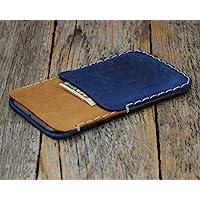 Café claro y Azul Estuche Billetera Funda De Cuero para iPhone XS Max, Plus, 7 Plus, 6/6s Plus con bolsillos para tarjetas de crédito. Estuche de manga. Cosido a mano.