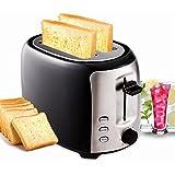 Meykey 2 Scheiben Toaster mit 7 einstellbare Bräunungsstufen 3 Funktionen 800 W Edelstahl Schwarz