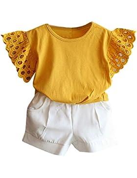 [Patrocinado]Ropa para chicas, RETUROM Nuevo estilo niña manga hueco T-shirt + Set de pantalones cortos