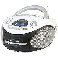 Majestic AH 2387 MP3 USB - Boom Box Portatile con Lettore Cd/Mp3, Ingresso USB, Radio Registratore Cassetta, Presa Cuffie, Bianco