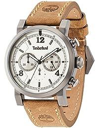Timberland 14811JSU/07 - Reloj de pulsera analógico para hombre (mecanismo de cuarzo, esfera negra y correa de piel marrón)