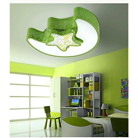 LbcvhStanza dei bambini cartoon LED luci a soffitto ragazze camera da letto bella principessa cartoon di luce creativo moderno luna stella eye care L54*W43*H12CM Soffitto verde chiaro