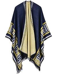 0a5ffa4cd0d30c Damen Poncho Cape Stricken Kaschmir Elegant Vintage Ethno Drucken Gestreift  Fashion Casual Herbst Winter Warm Ponchos