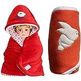 """""""MY NEWBORN Baby Blanket Cum Baby Wrapper For Babies- Set Of 2 Pcs. - Velvet & Fleece Combo Set Of Sleeping Bag"""