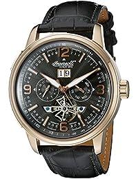 Ingersoll Unisex Automatik Uhr mit schwarzem Zifferblatt Analog-Anzeige und schwarz Lederband in1222rgbk