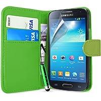 Supergets Gravur Hülle für Samsung Galaxy S4 Mini- Mehrfarbige Geldbörse in Lederoptik Buchstil Schale Brieftasche Case mit Karteneinschub, Schutzfolie, Mini Stift