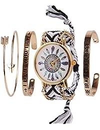 Beauty7 Kits de Bracelet avec Mots Montre Quartz Cadran Motif Plume Boho Bracelet Bande de Corde Bresilien Ajustable Tisse avec Chaine Doree Hippie Boheme
