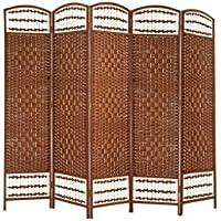 Biombo color Cerezo Bambú natural edición Country. - 5 Paneles