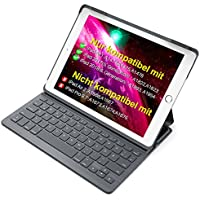 Inateck Ultra Slim Bluetooth Tastatur Hülle kampatibel iPad 2018(6. Generation), iPad 2017(5.Generation) und iPad Air 1, Keyboard Case mit Mulit-Angle- Ständer-Funktion,QWERTZ Layout (BK2003-DG)