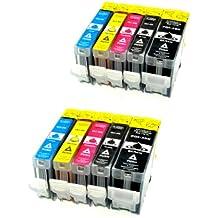 10 Tintenpatronen für Canon IP 4200 mit Chip - 2x bk 28 ml + je 2x bk/c/m/y 14 ml, kompatible Patronen