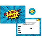 12 x Comic Superhero Style Birthday Party Invitations with optional Red, Yellow & Blue Envelopes + Matching Stickers