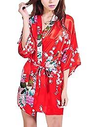 8c2c6ea6c8 Camicia da Notte Donna Kimono Estivo Elegante Giovane Hippie Stampa Fiore  Corto Accappatoio Vestaglia V Scollo