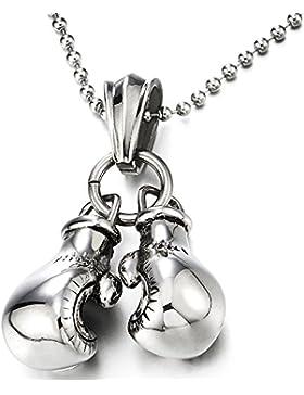 Ein Paar Boxhandschuh Edelstahl-Halskette für Herren Acrílica Anhänger mit 60cm Stahl Kugelkette