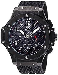 Megir - Reloj de pulsera de cuarzo para hombre, diseño de estilo militar, correa de silicona, gran esfera luminosa, color negro