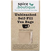Spice.Boutique Unbleached Paper Self Fill Teabags, Plastic Free, One Cup Size 5x7cm, 100