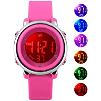 Relojes de pulsera digitales para niños niñas, 5 ATM impermeable para deportes al aire libre, reloj con retroiluminación 7 LED/alarma, reloj de pulsera deportivo electrónico para adolescentes niños