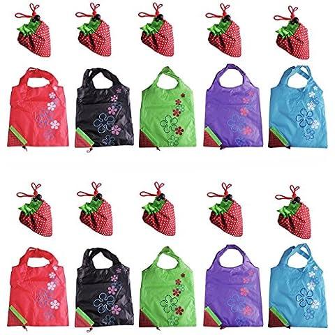 LIFECART 5piezas Varios colores de fresa plegable ECO bolsas reutilizables bolsas de compras Tote