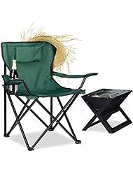Relaxdays Campingstuhl, Rückenlehne, Armlehnen, Getränkehalter, Polster, H x B x T: 80 x 79 x 50 cm, verschiedene Farben
