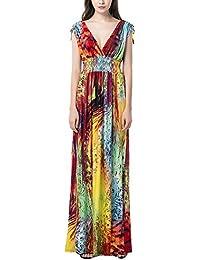 Donna V-Collo Eleganti Fiori Vestito Boemia Maxi Cerimonia Sera Cocktail  Festa Abito Lungo Taglie Forti Vestito da… feaf0ea3691