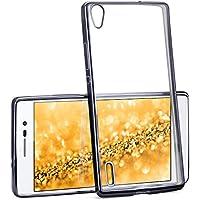La caja del cromo para Huawei Ascend P7   Funda de silicona transparente con efecto metálico   Protección de celda fina bolsa de OneFlow   Backcover en Anthracite-Black