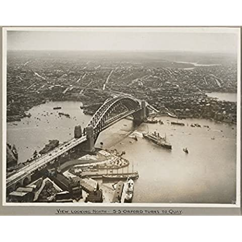 POSTER Orient liner SS Orford passing under Sydney Harbour Bridge