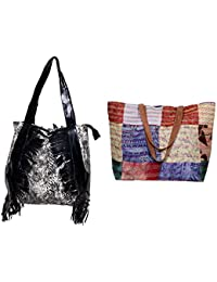Indiweaves Combo Pack Of 1 Silk Kantha Beach Bags Bag And 1 Cotton Shopper Bag (Pack Of 2) 82100-133274-IW-P2