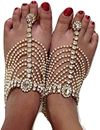 Womensky Antique Traditional Kundan Pearls Stone Fancy Stylish Gold Plated Payal/Anklet/Pajeb/Payjeb/Painjan/Ghungroo...