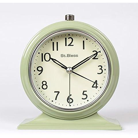 FQQRYY Seppia mute orologio al posto letto minimalista con la notte in camera da letto in stile desktop clock14,5*12.5cm, verde chiaro