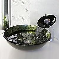 OUYANG Lavandino del bagno Set, vetro temperato Vessel Sink con cascata rubinetto, anello di montaggio e di acqua di