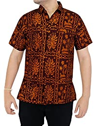 La Leela 100% coton feuille de belle plage batik chemise mens hawaïen camp casual casual sportswear beachwear manches courtes poche avant la moutarde