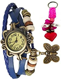 RTimes Vintage Butterfly Bracelet Wrist Watch for Women with Girl's Key Chain - Blue girl's watch