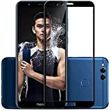 CareFone Honor 7X Tempered Glass Screen Protector Screen To Screen Fit Full 9H Hardness Bubble Free Anti-Scratch Crystal Clarity 2.5D Curved Screen Guard For Honor 7X (Black)